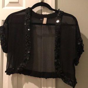 Echo Sequin Trimmed Black Jacket/Shrug